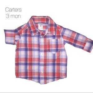 Carters Red Blue Button Up Shirt 3 mon